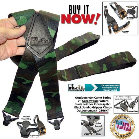 Woodland Camo pattern Hunting suspenders with black x-back leather crosspatch and jumbo patented gripper clasps
