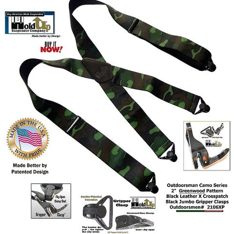 "HoldUp Woodland Camouflage 2"" pattern Suspenders with Jumbo Patented Plastic Gripper Clasp"