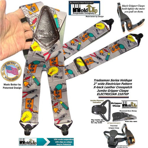 Tradesman series Holdup Electrician pattern work suspenders with patented Jumbo Gripper Clasps