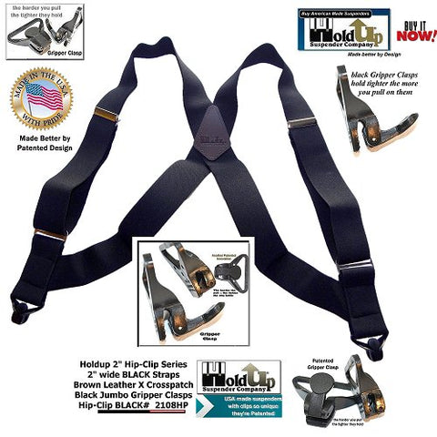 "Holdup Suspender Company's side clip Heavy duty 2"" wide side clip black suspender with Patented Jumbo Gripper Clasps"