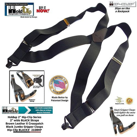 Holdup Brand Black X-back style side clip Suspenders with patented jumbo Gripper Clasps