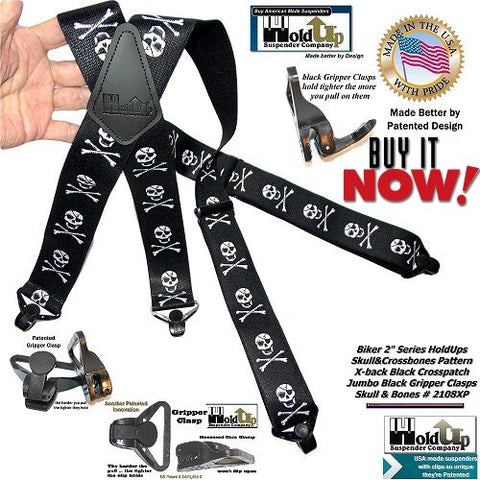 Holdup Biker Series heavy duty American made Suspender in our exclusive Skull & Crossbones pattern with patented jumbo black cam operating composite plastic gripper clasps.