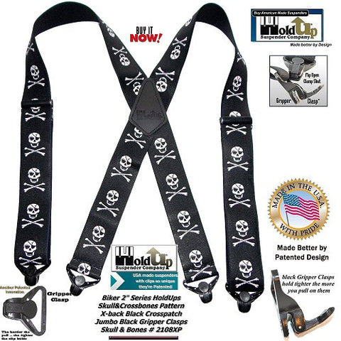 Holdup Biker Skull and Crossbones pattern heavy Duty X-back suspenders with Strong patented Gripper Clasps