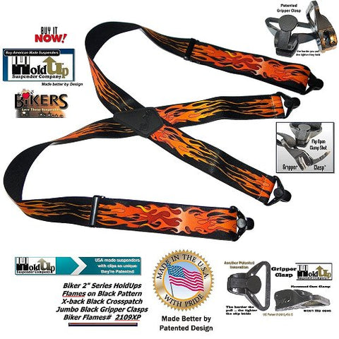 "Red and Orange Flames died into these black 2"" wide USA made Holdup Biker Series Suspenders with HD Gripper Clasps"