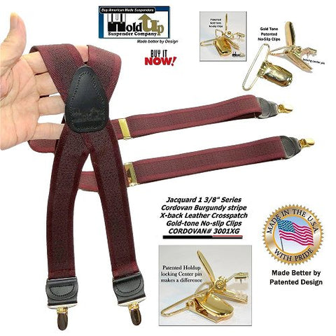 Holdup Brand Cordovan Burgundy Tone-on-Tone Jacquard Weave X-Back Suspenders with Gold-tone No-Slip Clips