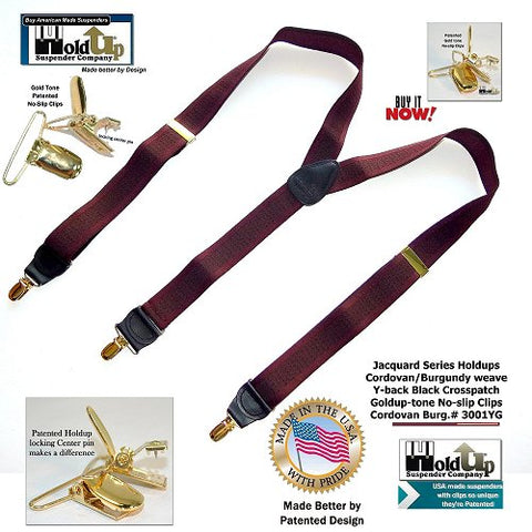 Cordovan burgundy single clip USA made Y-back Holdup suspenders with gold no-slip clips