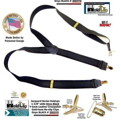 USA made Black Onyx jacquard weave Holdup Y-back suspenders featuring our patented no-slip Gold-tone clips