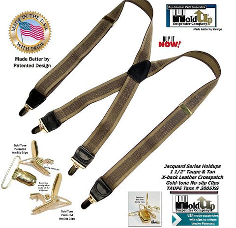 Holdup Jacquard Series Taupe and Tan stripe X-back suspenders with gold-tone no-slip clips and they're made in the USA better by patented design