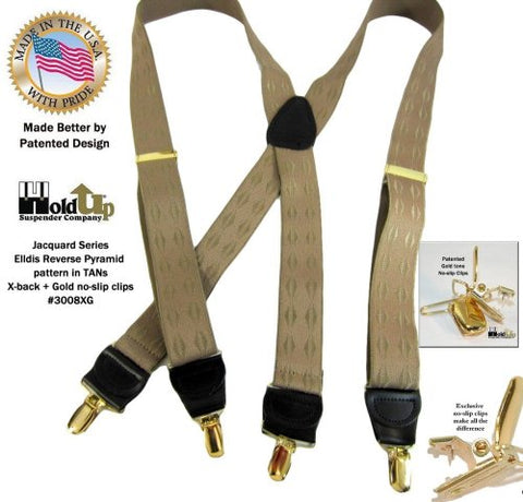 Jacqaurd Series Holdup X-back suspender in Elddis reverse pyramids pattern with Gold-tone patented Holdup clips