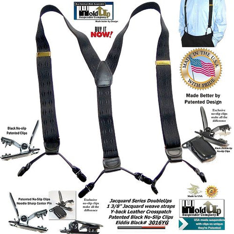 Holdup Black Elddis diamond pattern jacquard weave Dual Clip Double-Up Style Suspender with black No-slip Clips