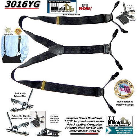 "Holdup Black Jacquard Elddis diamond pattern 1 3/8"" in Dual Clip Double-Up Style Suspender with black No-slip Clips"