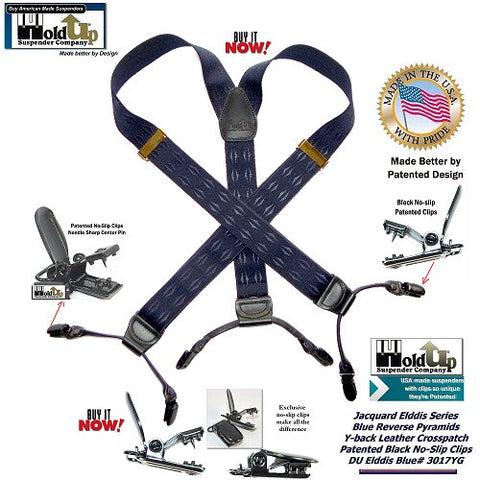 Jacquard weave Holdup dual clip Elddis Blue pattern mirrored Pyramid Dressy suspenders with patented no-slip clips