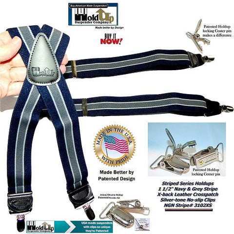 Stripe Series Holdup Navy Blue and Grey striped X-back suspenders made in the USA with patented silver no-slip center pin clips