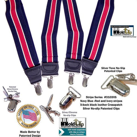 American made Holdup brand Navy blue and red striped suspenders with a narrow ivory pinstripe in these Striped Series Hold-Up Suspenders.