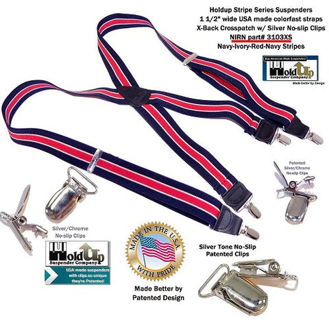 Red on Navy Blue striped X-back Holdup Suspenders with patented Silver-Tone no-slip center pin type clips