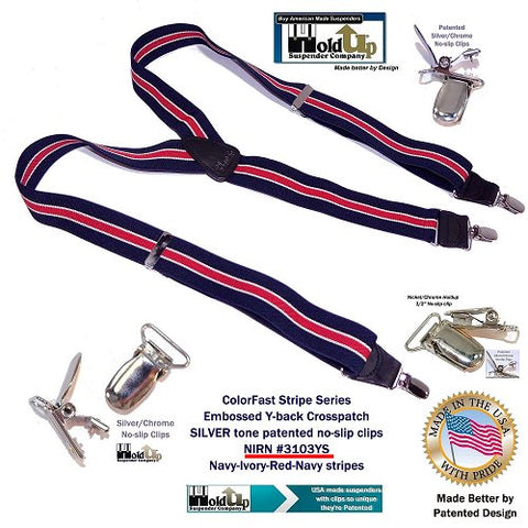 Red on Navy Blue Holdup Y-back striped clip-on suspenders with silver-tone no-slip patented clips