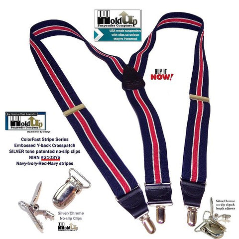 Navy blue Y-back Holdup suspenders with Red stripes and Black leather Y-back crosspatch and silver clips