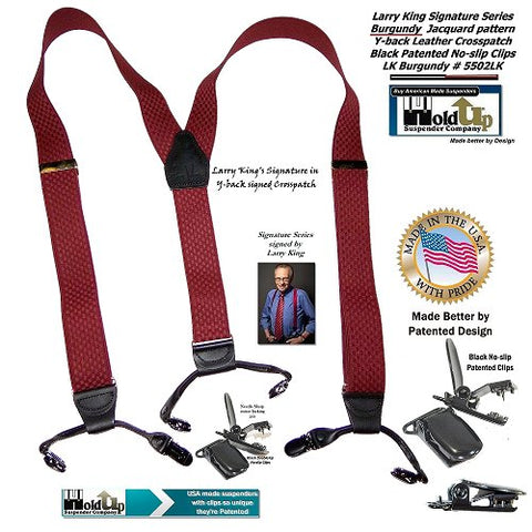 Limited edition collectible Larry King signed Hold-Up suspenders in dual clip Double-Up style