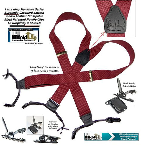 Burgundy Dual Clip Double-Up special edition Larry King endorsed Holdup y-back dressy suspenders for casual and formal events