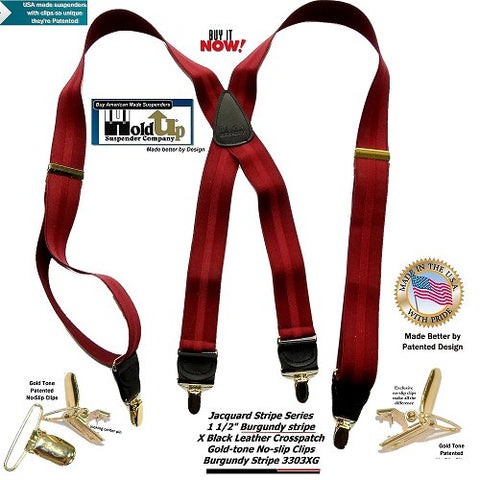USA made Jacquard weave Burgundy striped Holdup X-back clip-on suspenders with Gold-tone no-slip clips
