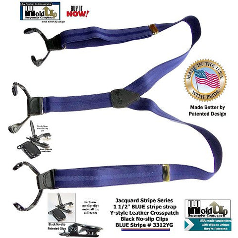 Jacquard weave Blue stripe Holdup Suspenders in Double-UP style with black no-slip center pin type clips