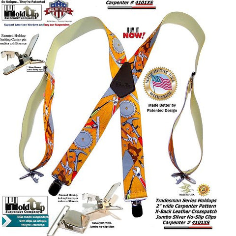 Holdup Tradesman Pattern X-back work Suspenders in Carpenter Pattern with Patented Jumbo No-slip Clips