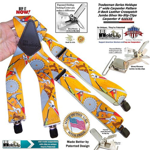 American made Holdup Brand Tradesmen Series Suspenders in Carpenter Pattern with Jumbo No-slip Center pin type Clips