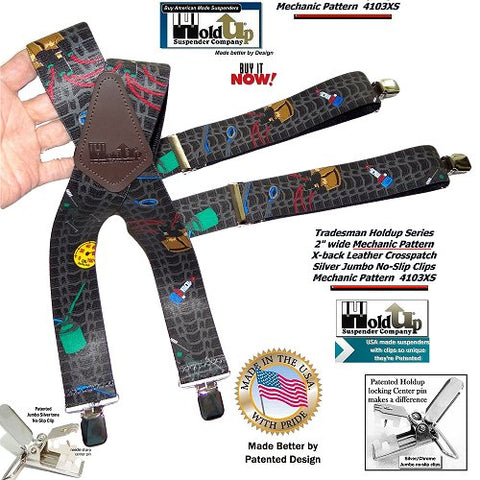 Tradesman Series Holdup Mechanic pattern work X-back suspenders with patented center pin type pins.