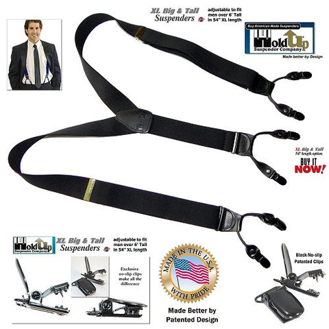 Casual Series Black dual clip Double-Up Y-back dressy office Holdup Suspenders with patented no-slip clips
