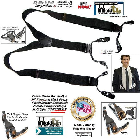 USA made Casual Series XL Double-Up style Black Pack color dressy Holdup Suspenders now offered for first time with Patented cam-actuated Gripper Clasp sized for the big & tall man.