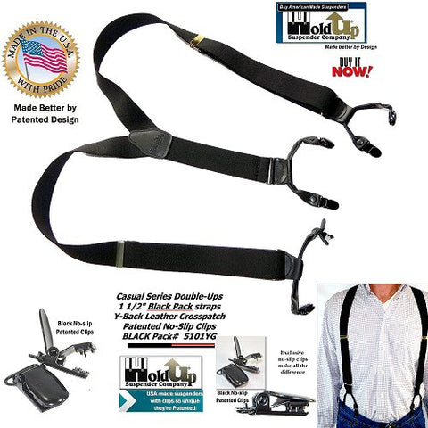 USA made Casual Series Double-Up style Black Pack color dressy Holdup Suspenders with Patented center pin type no-slip clips