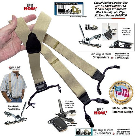 "Holdup Brand Sand Dunes Tan XL 54"" Longer Double-Up Dual-Clip Suspenders with free freight offer"