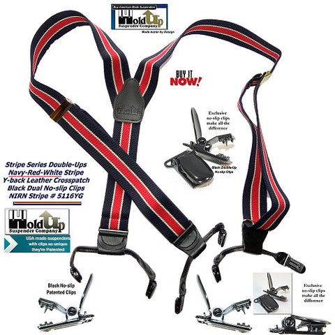 Holdup Brand Double-Up Style Navy blue and red striped men's Y-back suspender and they're made in the USA.