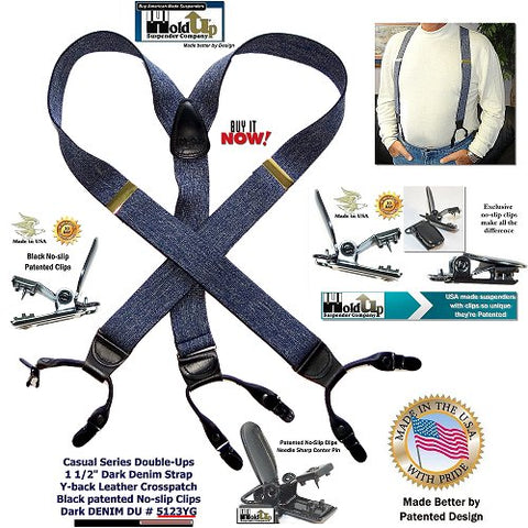 Dual clip Holdup Casual Series Double-Ups in dark blue denim color and black no-slip clips