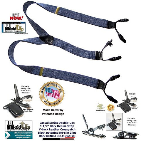 Dark Blue Denim Dual Clip Double-Up Style Holdup Suspenders in Y-back style are made in the USA by Holdup Suspender Company