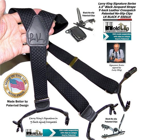Limited edition collectible Black Larry King signed Holdup suspenders in dual clip Double-Up style