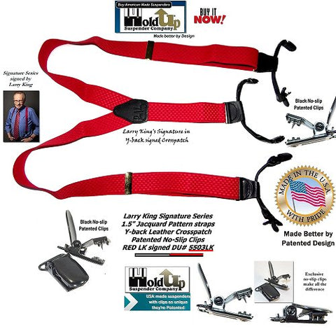 American made Double-Up style bright Red Larry King limited edition Holdup Suspenders with Y-back black genuine leather logo embossed crosspatch signed by TV star Larry King