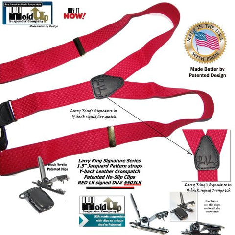 Limited edition collectible Red Larry King signed Holdup suspenders in dual clip Double-Up style