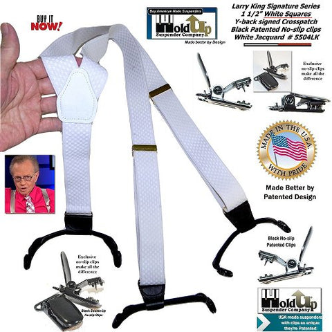 Larry King Signed Holdup white Double-Up limited edition Suspenders with patented no-slip clips