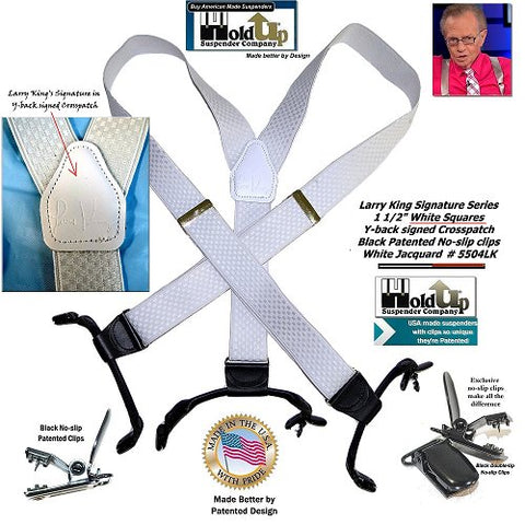 American made Double-Up style white Larry King limited edition Holdup Suspenders with Y-back white genuine leather logo embossed crosspatch signed by TV star Larry King
