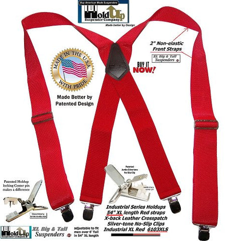 "USA made HoldUp Brand  XL Red Industrial 2"" Non-elastic Suspenders with no-slip Silver Clips"