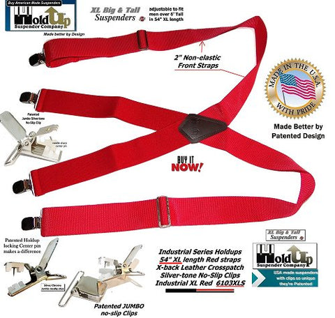 Industrial Series Red wide work Holdup suspenders with nylon front straps and jumbo silver no-slip patented clips