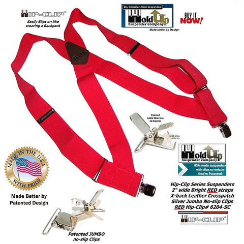 Hip-Clip Series Red Holdup brand work suspenders attach at the side of your pants with patented jumbo no-slip clips