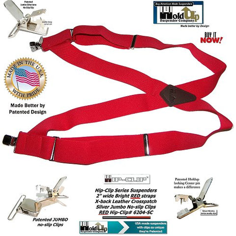 Red heavy duty Hip-Clip style trucker work suspenders from Holdup Suspender Company with patented jumbo no-slip center pin type clips
