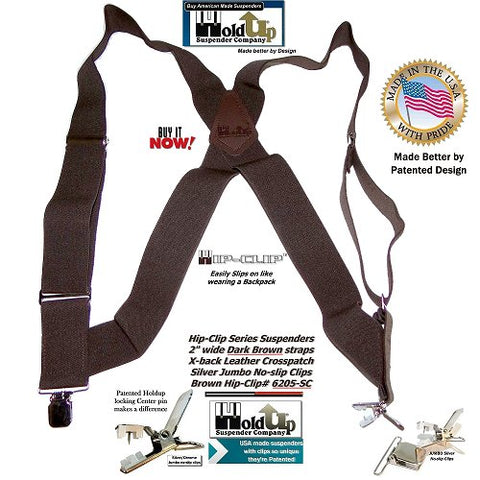Hip-Clip Series Brown Holdup brand work suspenders attach at the side of your pants with patented jumbo no-slip clips and they're made in the USA!