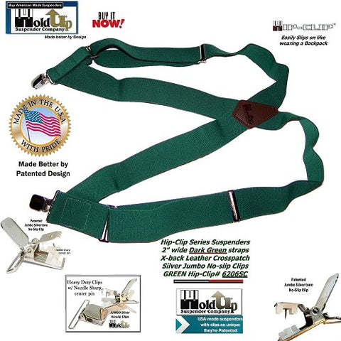 "Dark Green 2"" wide Hip-Clip style Holdup suspenders with Patented silver-tone jumbo No-slip clips"