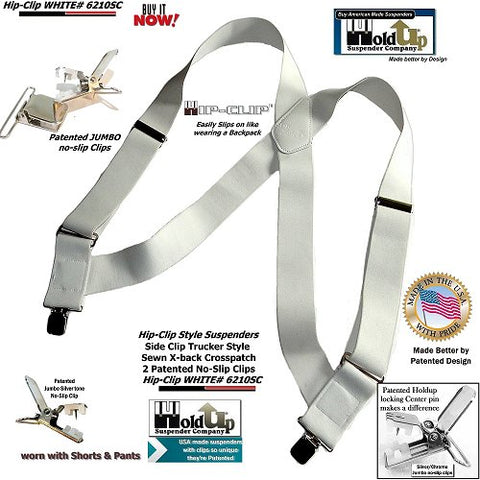 "Holdup Brand Hip-clip Series all White 2"" wide side clip work Suspenders"