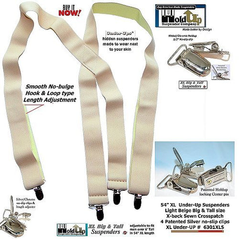 light tan Holdup under your shirt softweave x-back suspender with patented no-slip clips