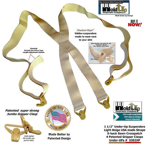 "1 1/2"" USA made super soft Hidden Suspenders worn under any loose fitting shirt with Patented Gripper Clasps in light beige"
