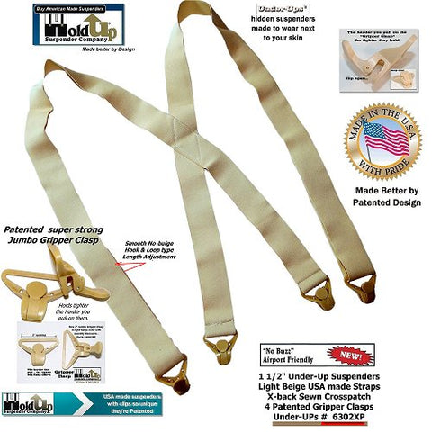 Beige Soft undergarment Holdup X-back suspenders with patented Gripper clasps made to wear under your shirt.